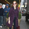 Jessica Chastain Wearing Purple Trench Coat