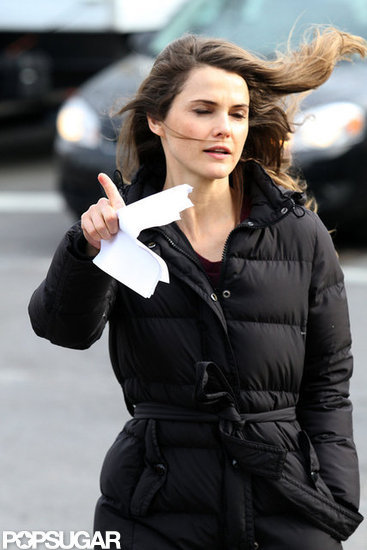 Keri Russell battled the wind.
