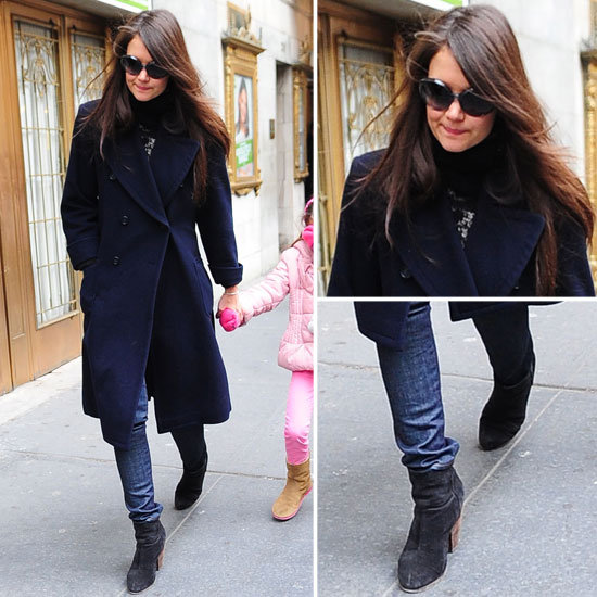 Katie Holmes in Blue Coat and Black Boots in NYC 2013