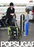 Gwen Stefani headed into the airport with Zuma and Kingston.