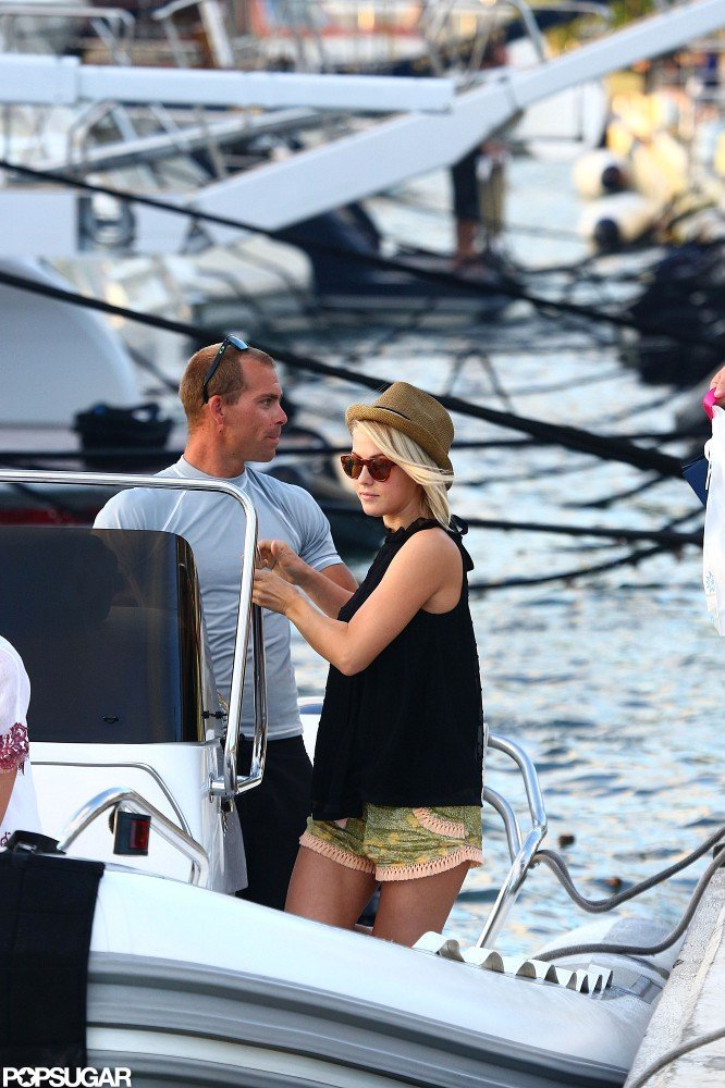 Julianne Hough sported sunglasses and a fedora for a boat ride in St. Bart's.