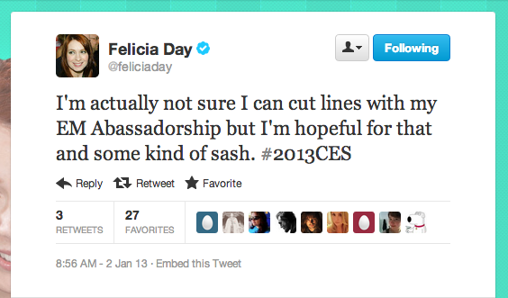 Looks like we'll see Felicia Day of The Flog, aka Ms. CES, at the Consumer Electronics Show in Las Vegas next week!