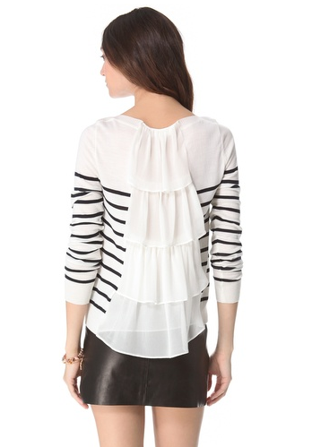 Clu's striped pullover sweater ($322) looks like a classic striped sweater from the front, but the back tells a whole other ruffly story.