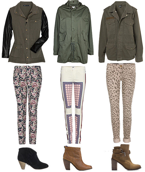 The perfect weekend pairing: an army jacket with printed pants and ankle boots.