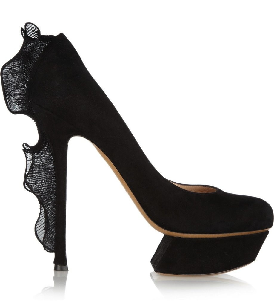 There's nothing sweet about these Nicholas Kirkwood ruffle-trimmed suede pumps ($950). In fact, they're the sexiest way to get in on the ruffle trend.