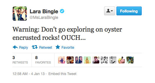 Ouch! Lara Bingle learns the hard way.