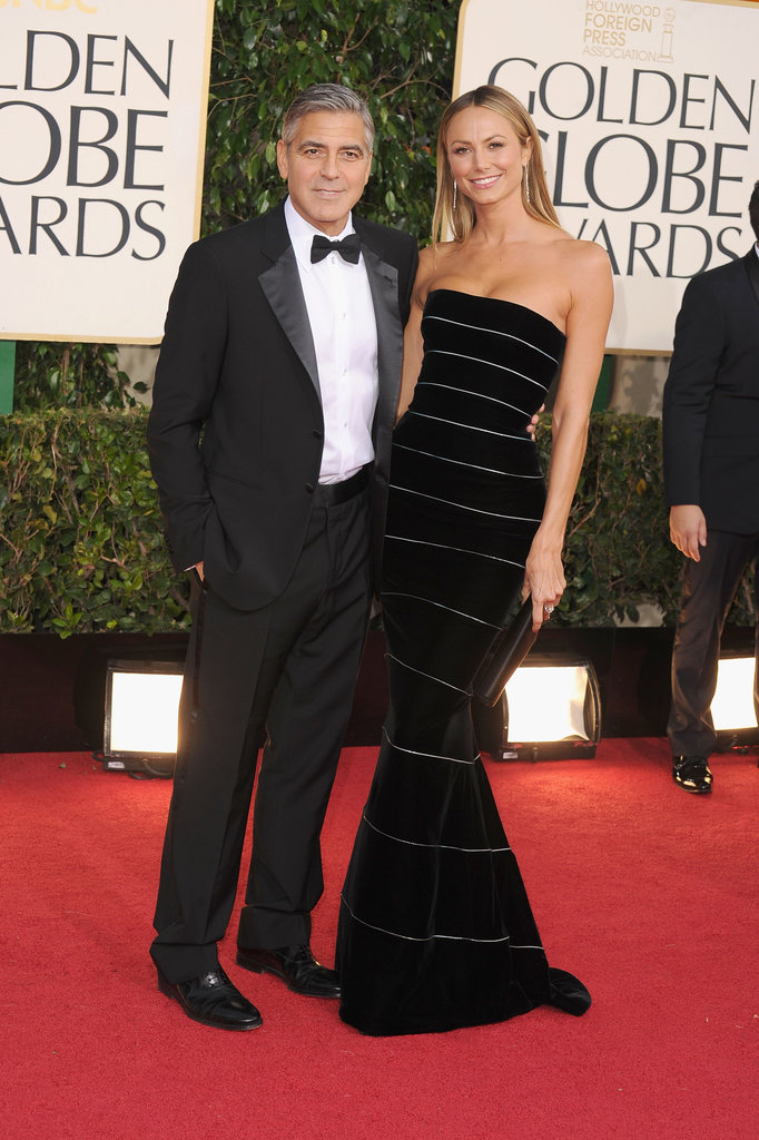 George Clooney and Stacy Keibler hit the red carpet at the Golden Globes.