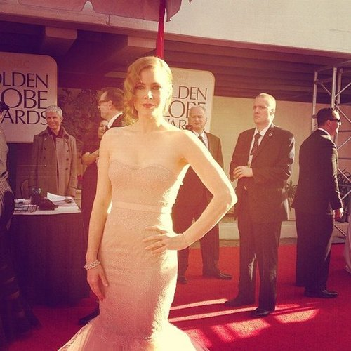 Amy Adams looked amazing in a Marchesa dress on the Golden Globes red carpet. Source: Instagram user goldenglobes