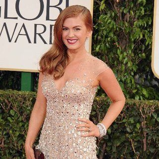 Isla Fisher in a Nude Gown at the Golden Globes 2013