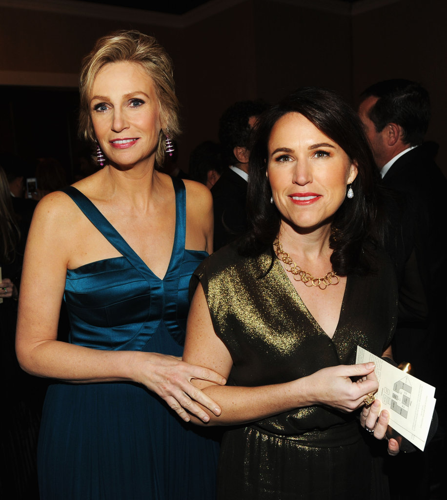 Jane Lynch and Lara Embry posed together during the Golden Globes.