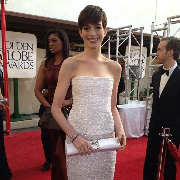 Anne Hathaway made a serious statement in a white strapless Chanel gown. Source: Instagram user goldenglobes