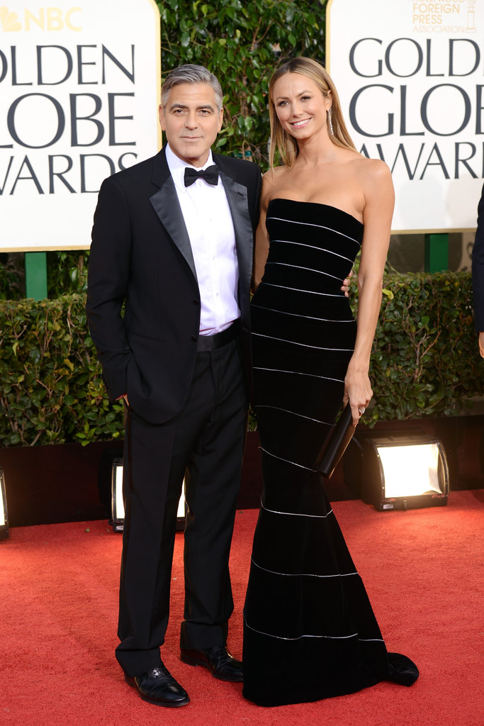 George Clooney and girlfriend Stacy Keibler were inseparable on the red carpet.