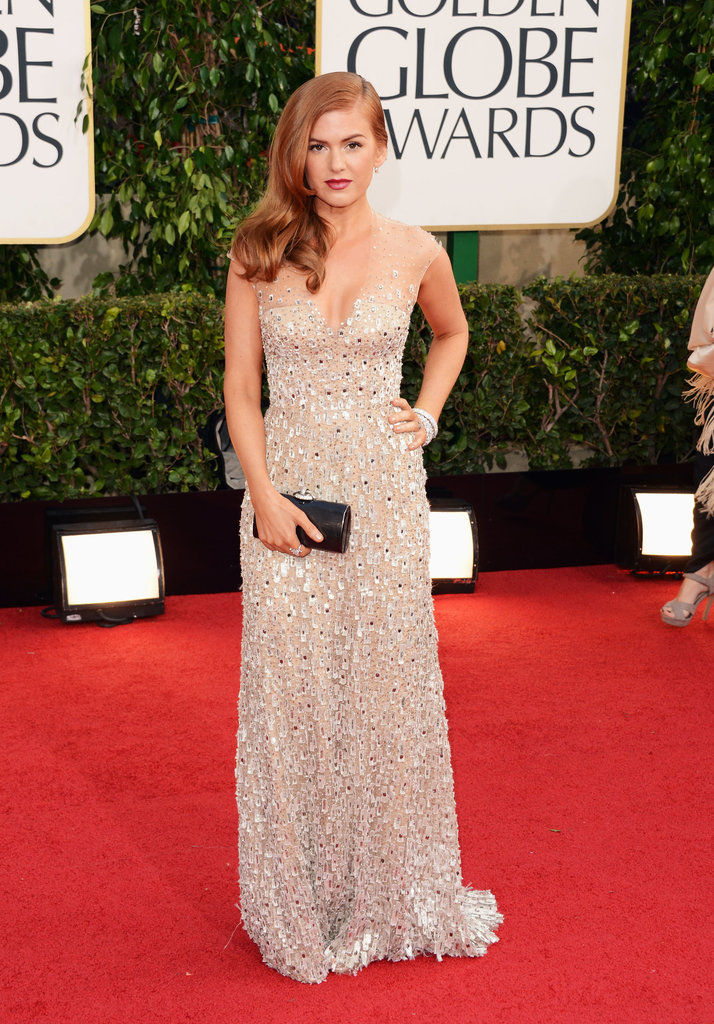 Isla Fisher chose a nude, sequined number.
