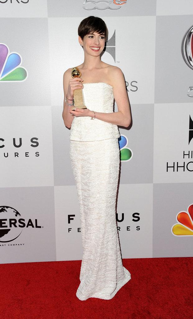Anne Hathaway held onto her Golden Globe.