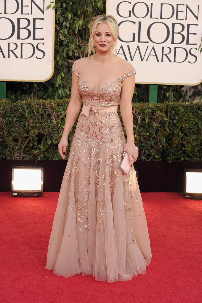 Kaley Cuoco wore a low-cut, sheer gown to the Golden Globes.