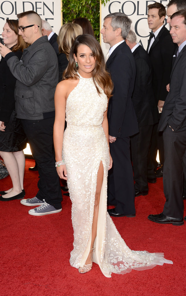 Lea Michele arrived solo to the Golden Globes Sunday night.