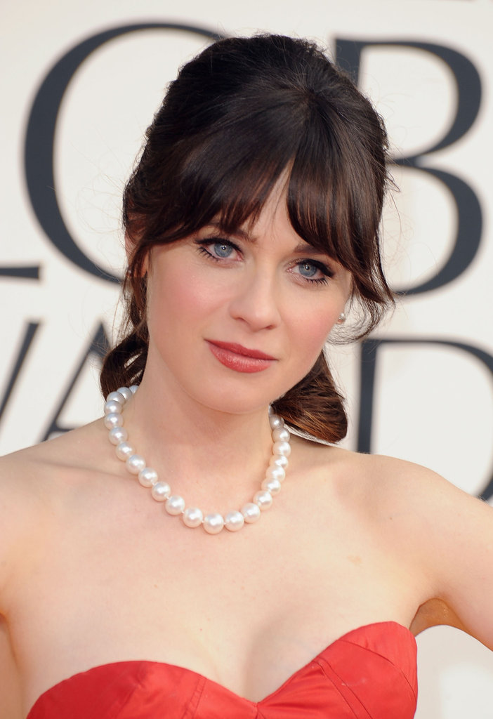 Zooey Deschanel looked stunning in red.