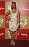Garcelle Beauvais went the short cocktail dress route with this cream-colored embroidered creation.