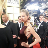 Taylor Swift traded in her sweet style for a little sophistication in Donna Karan Atelier. Source: Instagram user goldenglobes