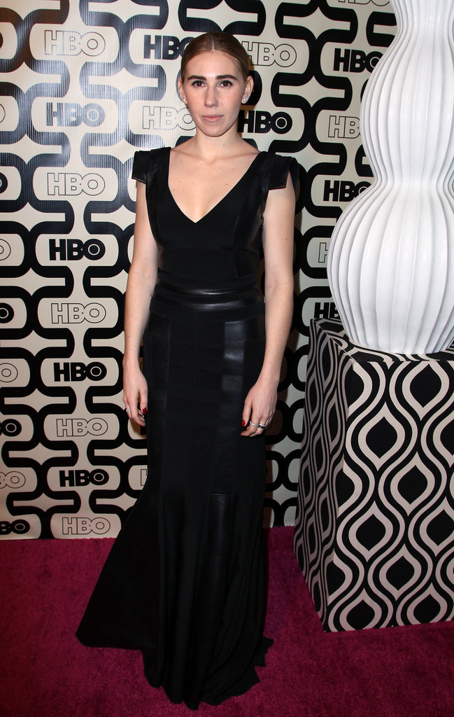 Zosia Mamet hit up the HBO afterparty in a floor-length, body-hugging black gown, but what we loved most about this creation were the edgier capped sleeves.