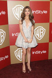 Sarah Hyland stepped out in a super-short embellished Pavoni dress with satin peep-toe platform pumps.