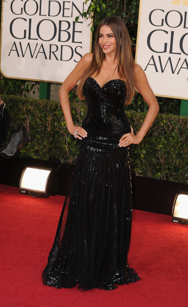 Sofia Vergara sparkled in a strapless, beaded gown.
