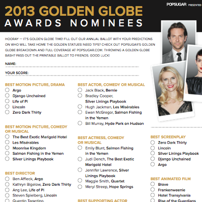 Golden Globes Printable Ballot 2013