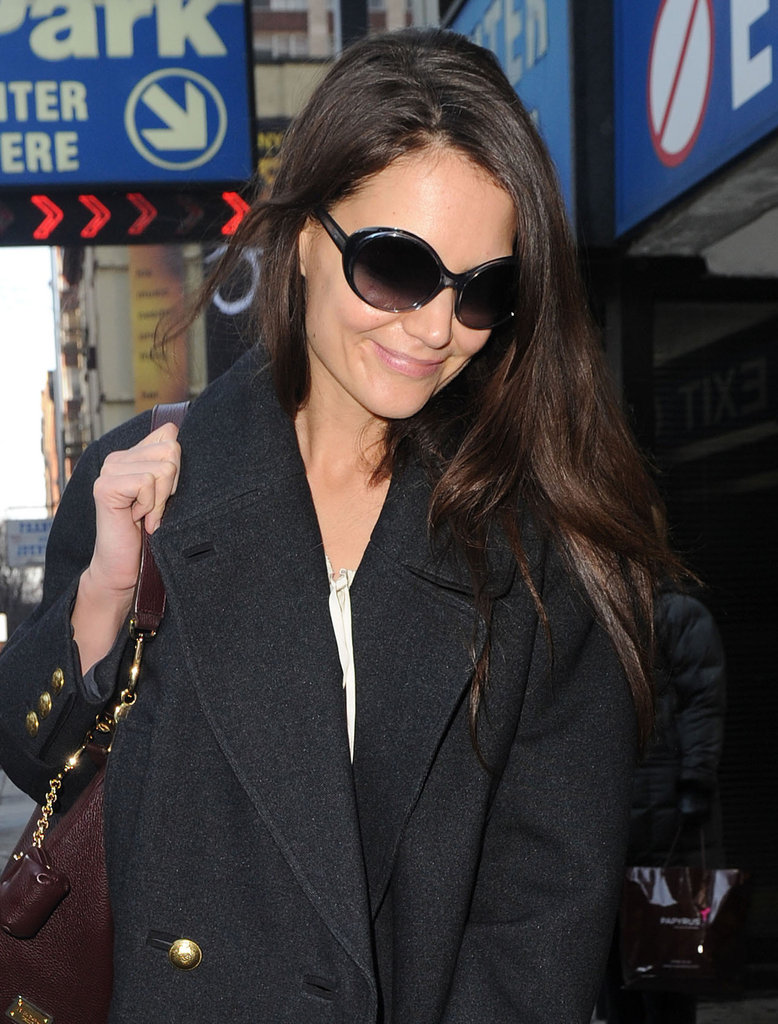 Katie Holmes arrived at the Music Box Theatre.