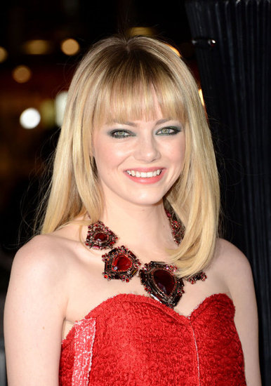 Emma Stone went for a dramatic necklace.