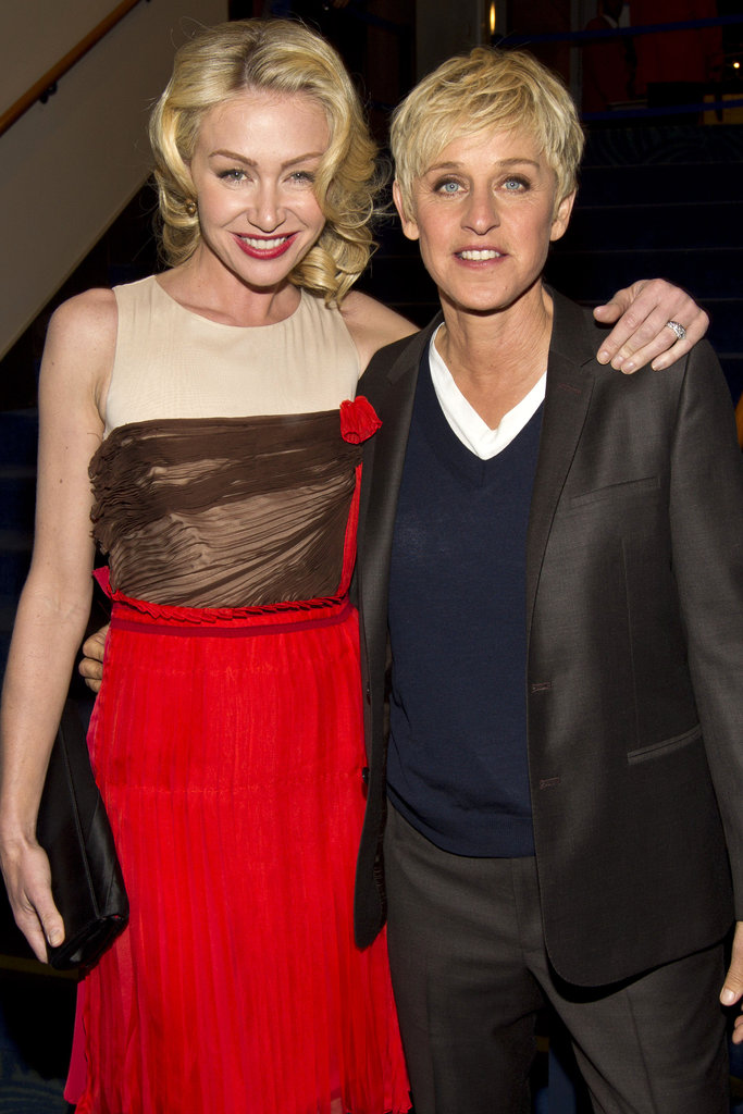 Ellen Degeneres and Portia de Rossi posed together backstage in 2012.