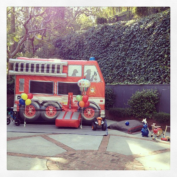 Miranda Kerr posted a picture of a blowup fire truck for Flynn's birthday party. Source: Instagram user mirandakerrverified