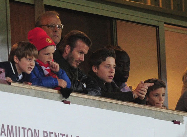 The Beckham Boys Support David's Old Team in London