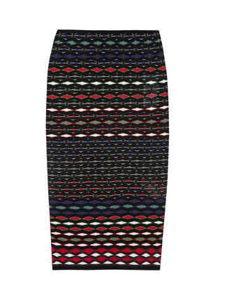 Just a little more bohemian-looking than your average pencil skirts — but just as sleek. Try this M Missoni Textured-Knit Cotton-Blend Pencil Skirt ($395) with a furry vest and knee-high boots to get the full eclectic-glam effect.