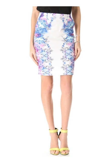 Yes, you can wear fresh florals, like the ones on this Nicholas Botanical Haze Pencil Skirt ($240), all Winter — just temper with a slouchy sweater and lace-up booties for a cool-girl effect.