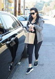 Leaving the gym in Ventura, Kim sticks to her all black, all-tight routine in chic workout wear.