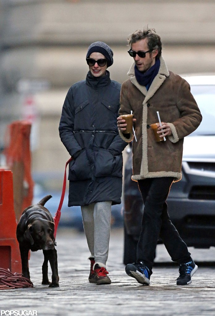 Anne Hathaway and Adam Shulman braved the chilly day.