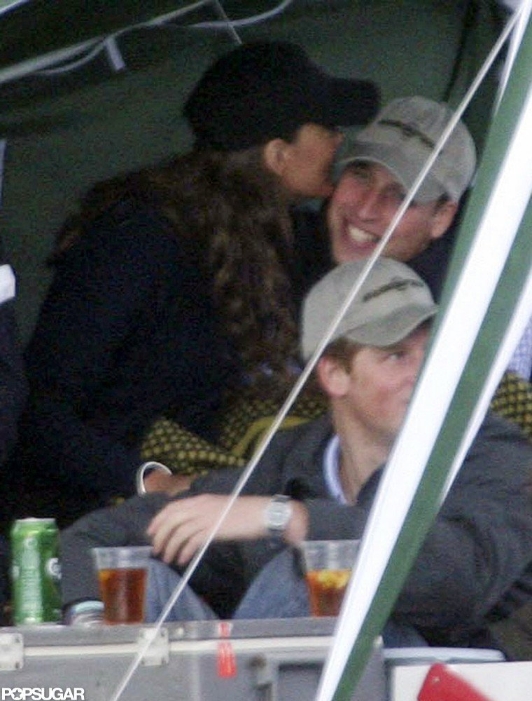 In June 2008, Kate snuck a kiss during William's birthday party at the Beaufort Polo Club.