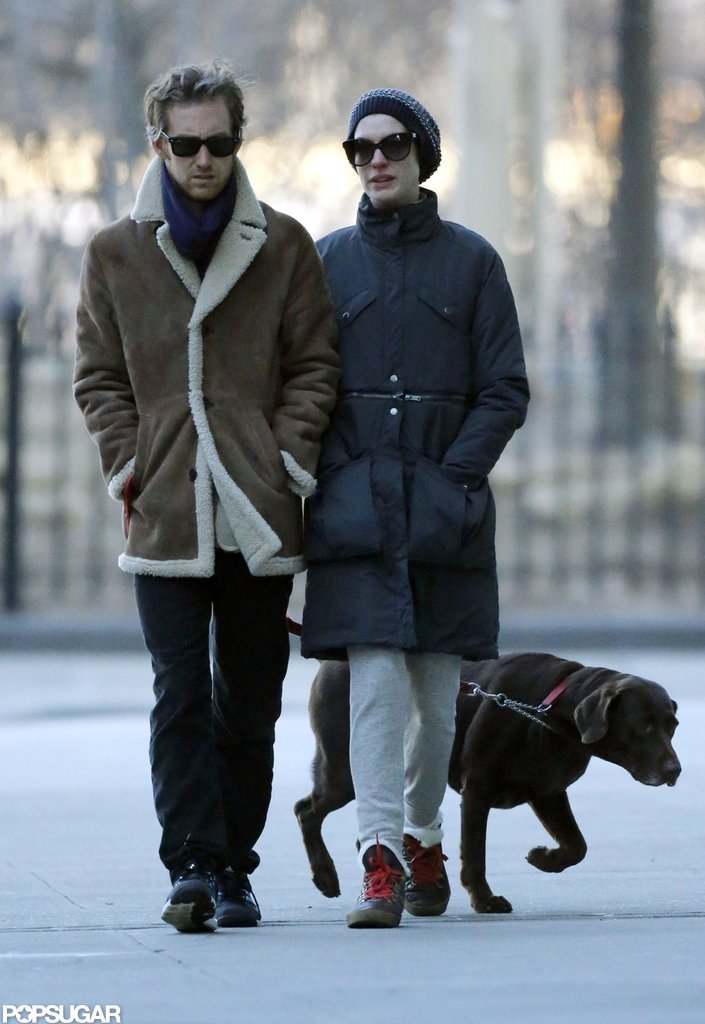 Anne Hathaway and Adam Shulman walked through NYC.