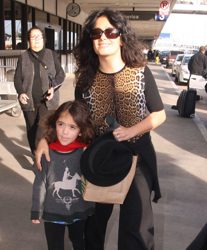 Salma Hayek and Valentina walked to their car.