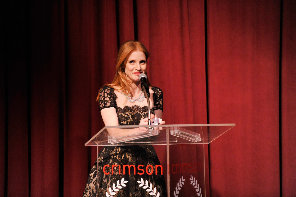Jessica Chastain talked at the award show.
