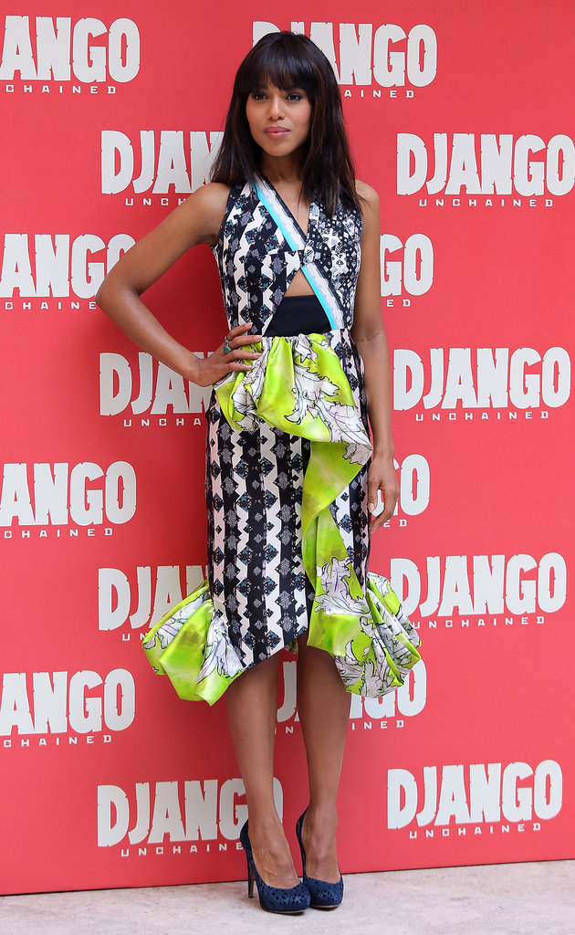 For the Django Unchained photocall in Rome, Kerry showed off a daring Peter Pilotto dress — the mixed-print, peplum, and strategic cutouts are arguably a lot in one piece, but Kerry managed to make it look chic, not sloppy. She finished the look with a pair of laser-cut Nicholas Kirkwood