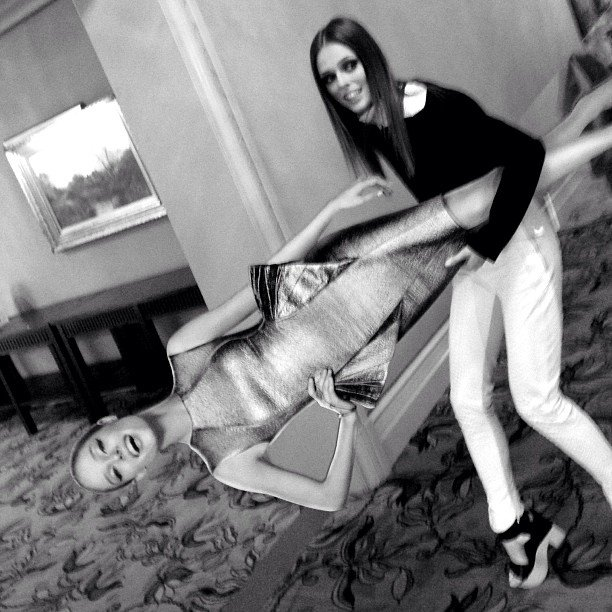 Coco Rocha ran off with her own cardboard cutout. Source: Instagram user cocorocha