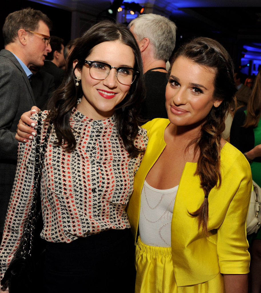 Shannon Woodward and Lea Michele smiled together.