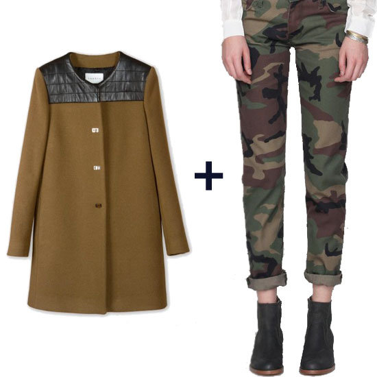 Want to take boy jeans to the next level? Pair a printed camouflage rendition with a feminine tailored coat and suede pumps for high boy-meets-girl contrast. Get the look: Sandro Mystère Taupe Coat ($602, originally $860) Baldwin Denim The Andi Boyfriend ($198)