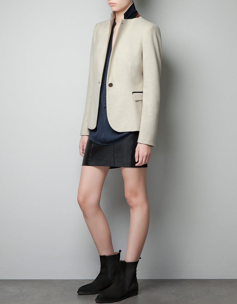 We love the textural component of Zara's moleskin blazer ($100), and it's also a great option for colder weather.
