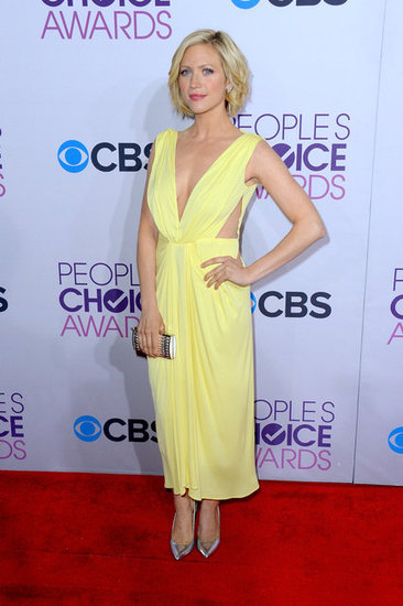 Brittany Snow chose a soft yellow Maria Lucia Hohan dress, complete with cutouts and a Grecian feel, for the awards. Her metallic Giuseppe Zanotti pumps rounded out the bright look.