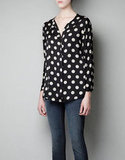 Zara's Polka-Dot Blouse With Zip ($60) is a great piece to pair with waxed denim.