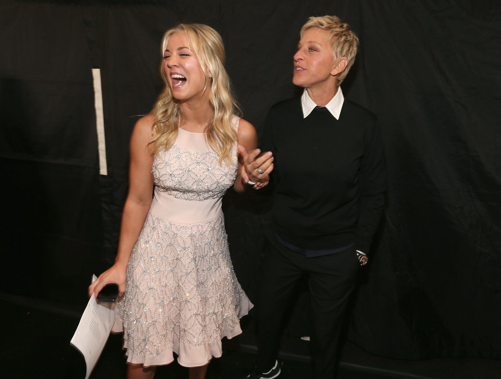Ellen DeGeneres and host Kaley Cuoco laughed together.