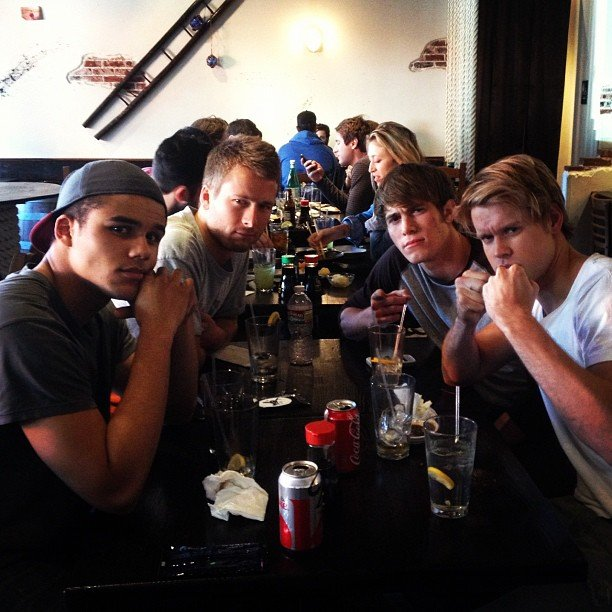 Glee star Chord Overstreet grabbed lunch with the boys of the show.  Source: Instagram user chordover