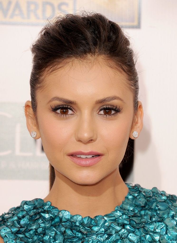Nina Dobrev wore  Monique Lhuillier to the Critics' Choice Awards.